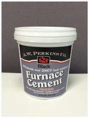 Aw Perkins 2000 Degree High Temperature Black Furnace Cement Pint 42